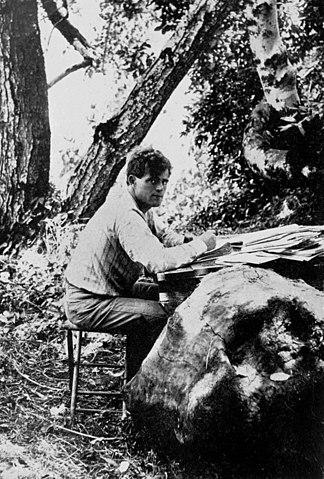 Jack London, writing by a fallen tree, 1905